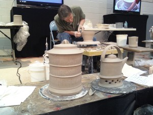 Bruce Cochrane with his demo pots completed