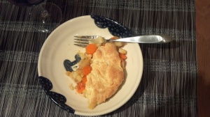 Winter vegetable cobbler, on a plate