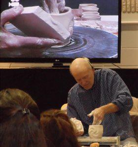 Jack Troy textures a teabowl